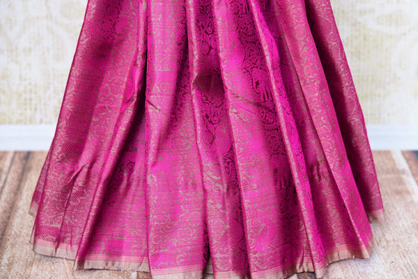Buy pink Kanchipuram silk saree online in USA with self-weaving.  Pure Elegance Indian fashion store brings exclusive range of woven Kanjivaram silk sarees in USA.-pleats