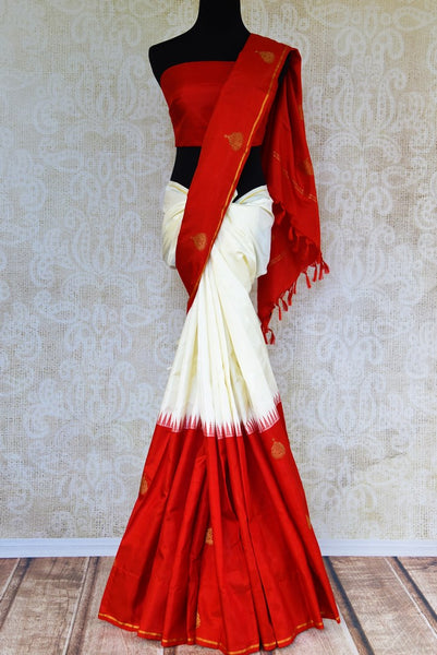 Buy half red and half white Kanjivaram silk saree online in USA from Pure Elegance. Our Indian fashion store brings exquisite range of Kanjeevaram sarees in USA.-full view