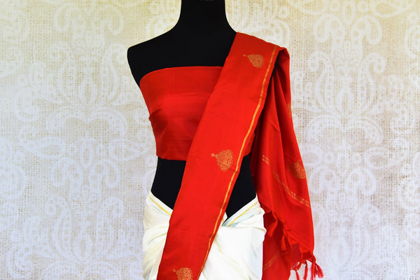 Buy half red and half white Kanjivaram silk saree online in USA from Pure Elegance. Our Indian fashion store brings exquisite range of Kanjeevaram sarees in USA.-pallu