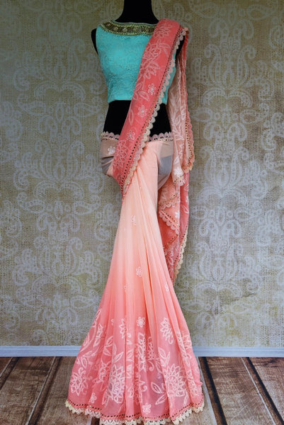 Buy pink embroidered Luchnowi saree online from Pure Elegance with readymade blouse. Our Indian fashion store brings alluring range of Lucknowi saris in USA for women.-full view