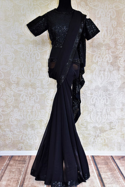 Buy black Luchnowi saree online from Pure Elegance with readymade blouse. Our Indian fashion store brings alluring range of Lucknowi sarees in USA for women. Buy now.-full view