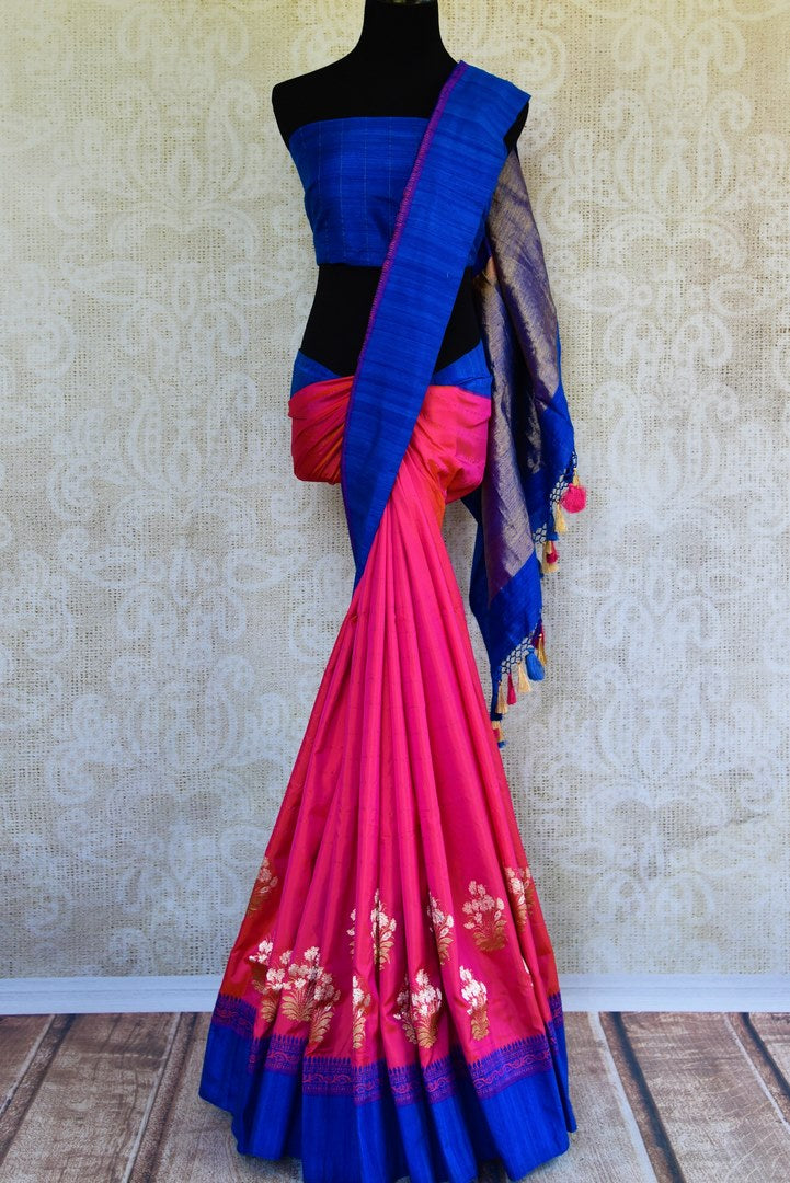 Buy online pink Banarasi resham sari in USA with blue border. Browse through an exquisite range of Banarasi sarees at Pure Elegance Indian fashion store online.-full view