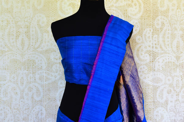 Buy online pink Banarasi resham sari in USA with blue border. Browse through an exquisite range of Banarasi sarees at Pure Elegance Indian fashion store online.-pallu