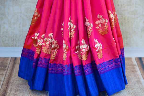 Buy online pink Banarasi resham sari in USA with blue border. Browse through an exquisite range of Banarasi sarees at Pure Elegance Indian fashion store online.-pleats