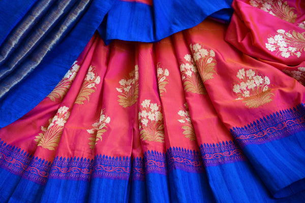 Buy online pink Banarasi resham sari in USA with blue border. Browse through an exquisite range of Banarasi sarees at Pure Elegance Indian fashion store online.-details