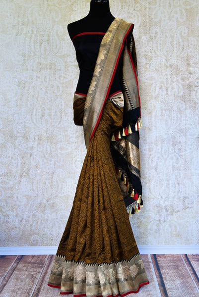 Buy black Banarasi saree online in USA with brown resham work. Browse through an exquisite range of Indian Banarasi sarees at Pure Elegance online store in USA.-full view