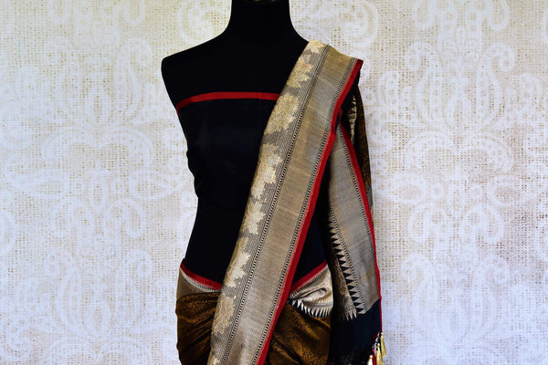 Buy black Banarasi saree online in USA with brown resham work. Browse through an exquisite range of Indian Banarasi sarees at Pure Elegance online store in USA.-pallu