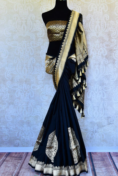 Buy black Banarasi resham silk saree online in USA with zari border. Get your hands on traditional Indian Banarasi silk saris at Pure Elegance online store in USA.-full view