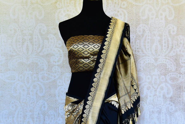 Buy black Banarasi resham silk saree online in USA with zari border. Get your hands on traditional Indian Banarasi silk saris at Pure Elegance online store in USA.-pallu
