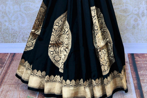 Buy black Banarasi resham silk saree online in USA with zari border. Get your hands on traditional Indian Banarasi silk saris at Pure Elegance online store in USA.-pleats