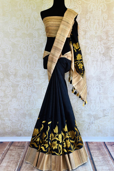 Buy black ghicha Banarasi sari online in USA with floral border. Get your hands on traditional Indian Banarasi sarees at Pure Elegance online store in USA now.-full view
