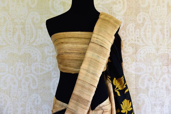 Buy black ghicha Banarasi sari online in USA with floral border. Get your hands on traditional Indian Banarasi sarees at Pure Elegance online store in USA now.-pallu