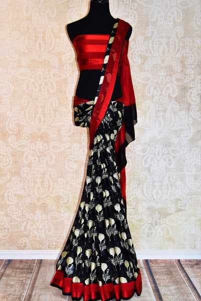 Buy black and white floral printed silk crepe saree online in USA. Pure Elegance fashion store brings you exquisite range of Indian designer sarees for parties.-full view