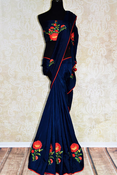Buy dark blue crepe silk sari online from Pure Elegance. Our Indian fashion store in USA brings an exquisite range of stylish designer sarees for parties and weddings.