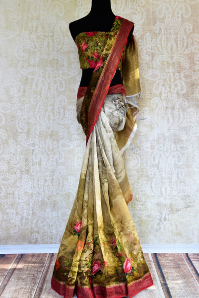 Buy grey and brown printed tussar linen saree online in USA.  Our Indian fashion store brings stunning range of Indian printed sarees in USA for festivals and parties.-full view