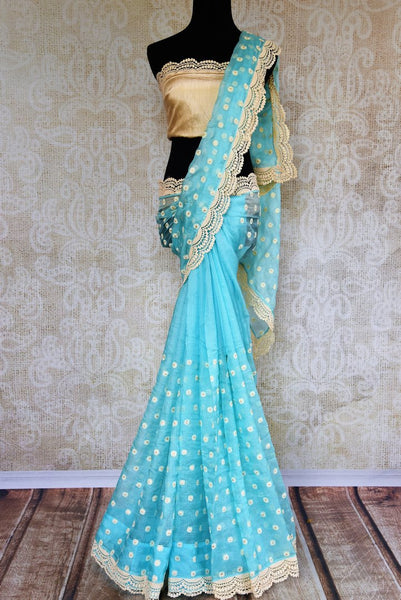 Buy online sky blue embroidered kota sari in USA. Pure Elegance clothing store brings a stunning range of Indian designer sarees in USA for parties and various occasions.-full view