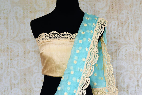 Buy online sky blue embroidered kota sari in USA. Pure Elegance clothing store brings a stunning range of Indian designer sarees in USA for parties and various occasions.-blouse pallu