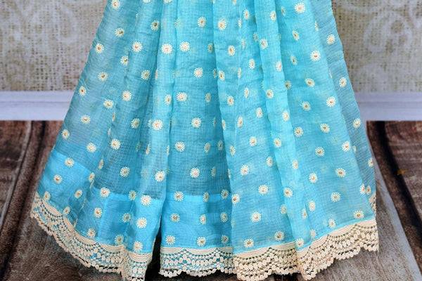 Buy online sky blue embroidered kota sari in USA. Pure Elegance clothing store brings a stunning range of Indian designer sarees in USA for parties and various occasions.-pleats