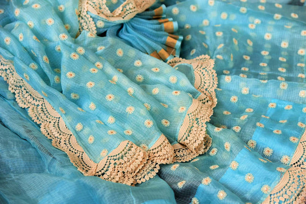 Buy online sky blue embroidered kota sari in USA. Pure Elegance clothing store brings a stunning range of Indian designer sarees in USA for parties and various occasions.-details