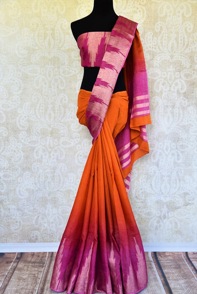 Buy orange and pink linen sari with temple border online in USA. Pure Elegance clothing store brings an exquisite range of Indian woven linen sarees in USA. Shop online.-full view