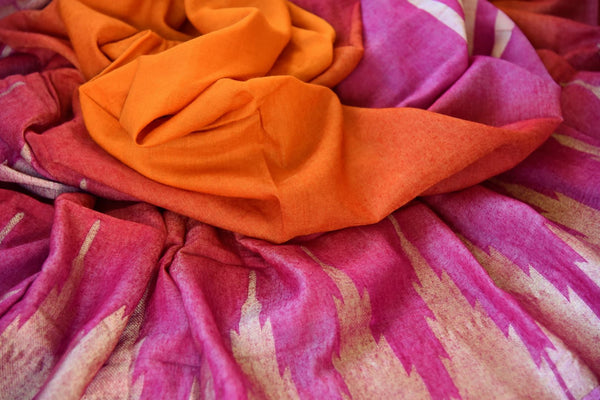 Buy orange and pink linen sari with temple border online in USA. Pure Elegance clothing store brings an exquisite range of Indian woven linen sarees in USA. Shop online.-details