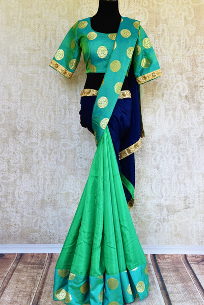 Buy green and blue embroidered silk saree with Benarasi border online in USA. Pure Elegance clothing store brings an exquisite range of Indian designer sarees online in USA. -full view