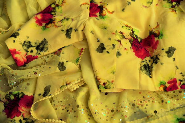 Buy lemon yellow floral print georgette ticki work saree online in USA with blouse.  Our Indian fashion store brings a beautiful range of Indian designer saris in USA.-details