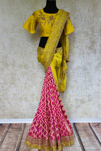 Buy yellow and pink tussar georgette Banarasi embroidered saree online in USA. Pure Elegance clothing store brings an exquisite range of Indian designer sarees online in USA. -full view