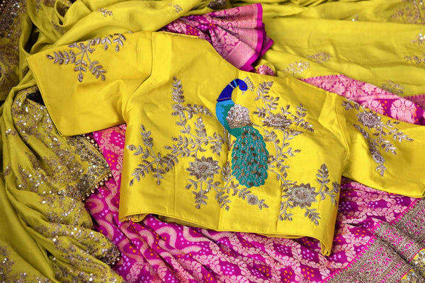 Buy yellow and pink tussar georgette Banarasi embroidered saree online in USA. Pure Elegance clothing store brings an exquisite range of Indian designer sarees online in USA. -details