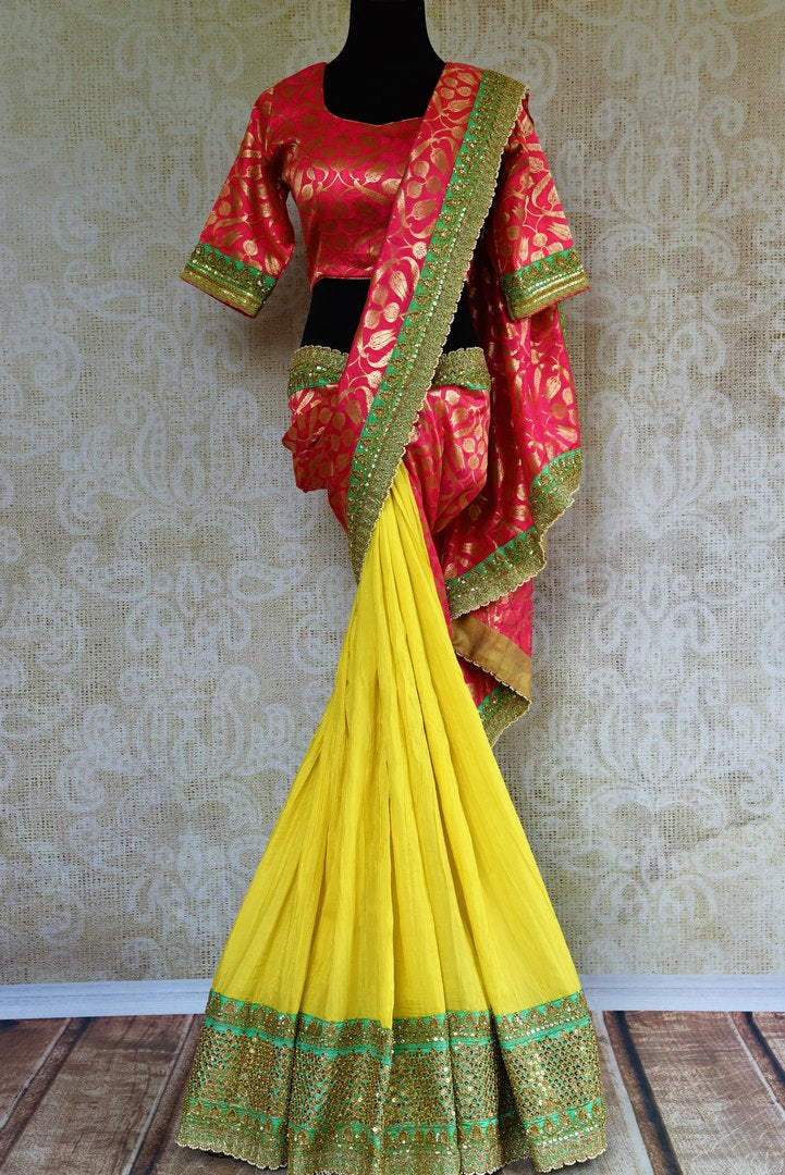 Buy yellow and pink half Banarasi and half silk embroidered sari online in USA with blouse.  Our fashion store brings a beautiful range of Indian designer saris in USA.-full view