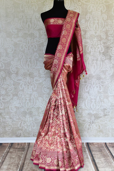 Beautiful pink shikara weave Banarasi saree buy online in USA. Pure Elegance fashion store brings an exclusive range of Indian Banarasi silk saris in USA for weddings. -full view