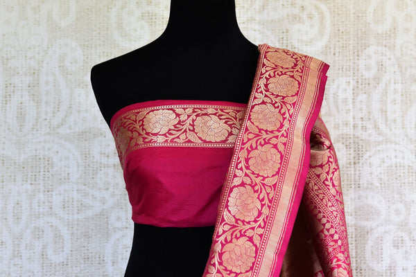 Beautiful pink shikara weave Banarasi saree buy online in USA. Pure Elegance fashion store brings an exclusive range of Indian Banarasi silk saris in USA for weddings. -blouse pallu
