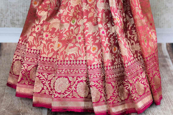 Beautiful pink shikara weave Banarasi saree buy online in USA. Pure Elegance fashion store brings an exclusive range of Indian Banarasi silk saris in USA for weddings. -pleats