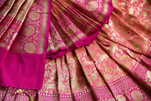 Beautiful pink shikara weave Banarasi saree buy online in USA. Pure Elegance fashion store brings an exclusive range of Indian Banarasi silk saris in USA for weddings. -details