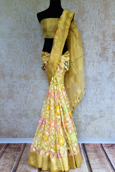 Buy cream jute Banarasi saree online in USA. Pure Elegance Indian fashion store brings a stunning collection of traditional woven Banarasi sarees for weddings in USA.-full view
