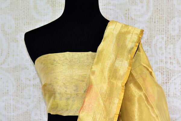 Buy cream jute Banarasi saree online in USA. Pure Elegance Indian fashion store brings a stunning collection of traditional woven Banarasi sarees for weddings in USA.-blouse pallu