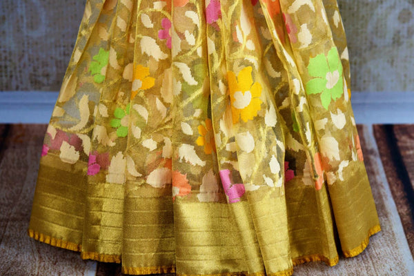 Buy cream jute Banarasi saree online in USA. Pure Elegance Indian fashion store brings a stunning collection of traditional woven Banarasi sarees for weddings in USA.-pleats