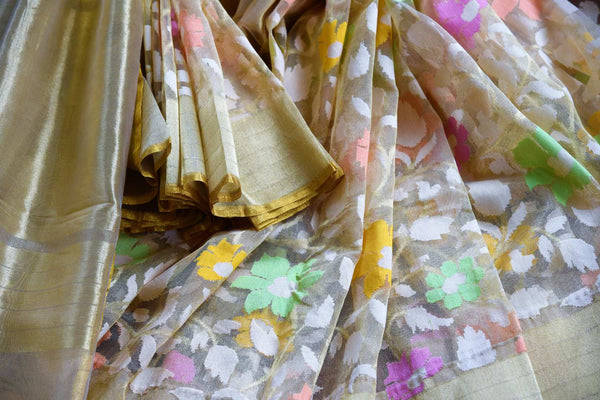 Buy cream jute Banarasi saree online in USA. Pure Elegance Indian fashion store brings a stunning collection of traditional woven Banarasi sarees for weddings in USA.-details
