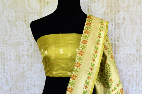 Buy green Banarasi resham saree online in USA. Pure Elegance clothing store brings exclusively curated collection of Indian Banarasi sarees for weddings in USA. -blouse pallu