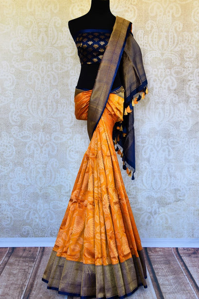 Buy beautiful orange kathan silk Banarasi saree online in USA. Pure Elegance clothing store brings an exquisite variety of Indian silk sarees for weddings in USA for women. -full view