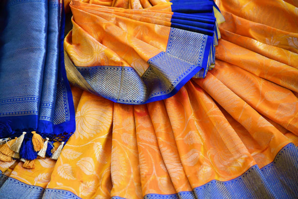 Buy beautiful orange kathan silk Banarasi saree online in USA. Pure Elegance clothing store brings an exquisite variety of Indian silk sarees for weddings in USA for women. -details