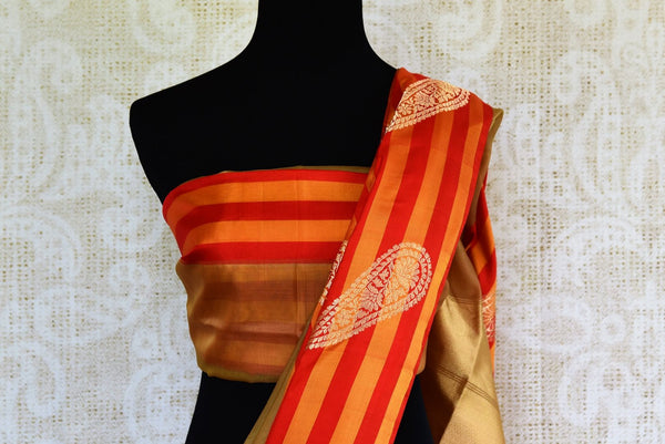 Buy brown tissue Banarasi saree with striped border online in USA. Pure Elegance clothing store brings exquisite range of Indian Benarasi sarees for online shopping in USA.-blouse pallu
