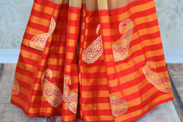 Buy brown tissue Banarasi saree with striped border online in USA. Pure Elegance clothing store brings exquisite range of Indian Benarasi sarees for online shopping in USA.-pleats