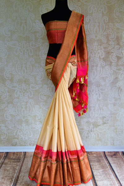 Buy off white linen Banarasi saree with zari border online in USA. Pure Elegance fashion store brings an exquisite range of Indian wedding sarees in USA for women. -full view