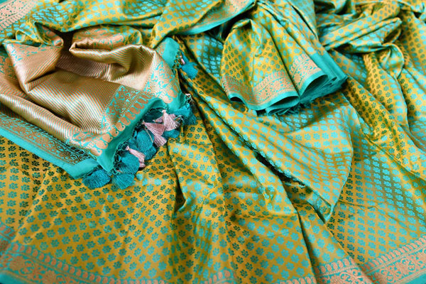 Buy pastel green Banarasi silk saree online in USA. Pure Elegance fashion store brings a stunning range of Indian designer sarees for weddings and festivals in USA.-details