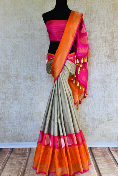 Buy grey Banarasi silk saree online in USA. Pure Elegance fashion store brings a stunning range of Indian designer sarees for weddings and festivals in USA for women.-full view