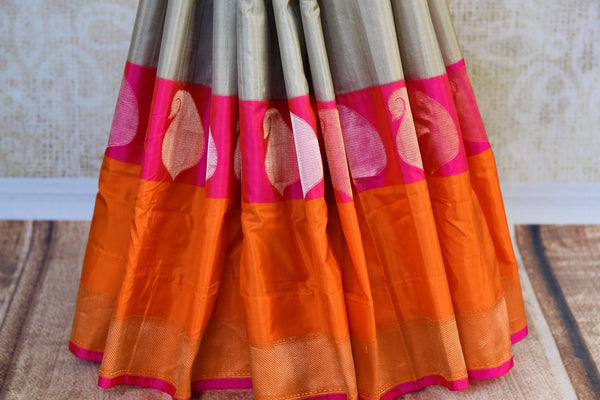 Buy grey Banarasi silk saree online in USA. Pure Elegance fashion store brings a stunning range of Indian designer sarees for weddings and festivals in USA for women.-pleats