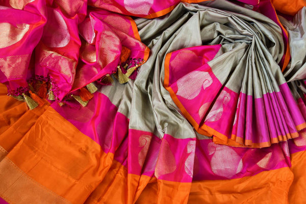 Buy grey Banarasi silk saree online in USA. Pure Elegance fashion store brings a stunning range of Indian designer sarees for weddings and festivals in USA for women.-details