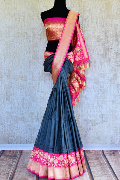 Buy dark grey Banarasi silk saree with zari border online in USA. Pure Elegance clothing store brings exquisite range of Indian Benarasi sarees for online shopping in USA.-full view