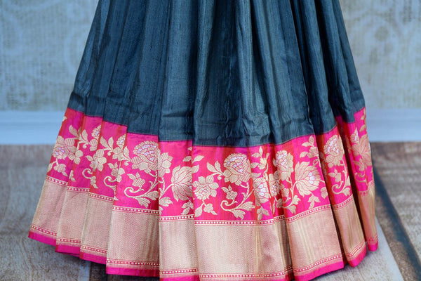 Buy dark grey Banarasi silk saree with zari border online in USA. Pure Elegance clothing store brings exquisite range of Indian Benarasi sarees for online shopping in USA.-pleats